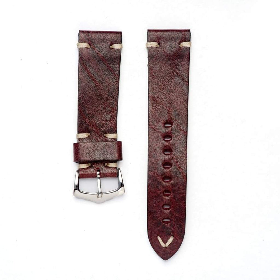 Milano Straps Leather strap 20mm / Yellow Gold Polish Burgundy Leather Watch Strap