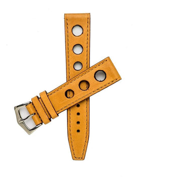 Milano Straps Leather strap 20x18mm / Stainless Steel Polish Natural