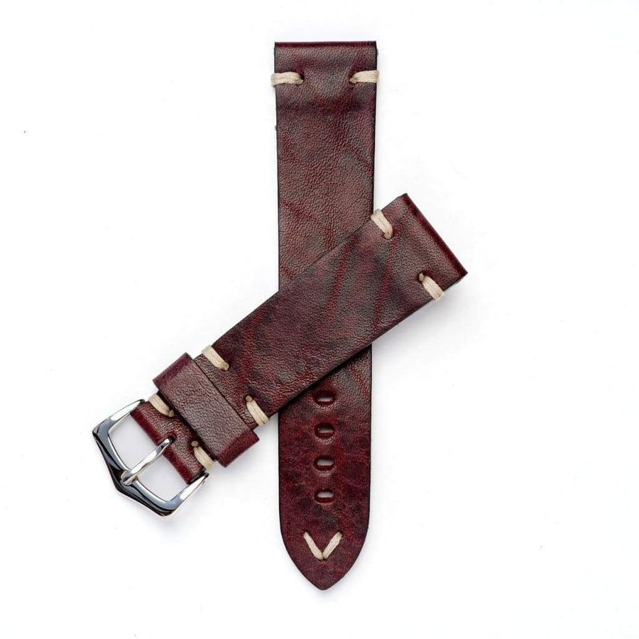 Milano Straps Leather strap 22mm / Stainless Steel Polish Burgundy Leather Watch Strap