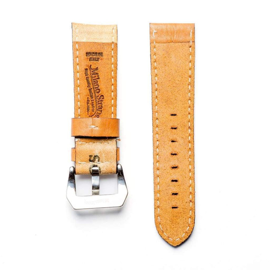 Milano Straps Leather strap 24mm / Stainless Steel Polish Baseball Leather Watch Strap - Limited Edition