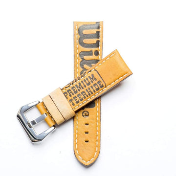 Milano Straps Leather strap 24mm / Stainless Steel Polished Baseball Leather Watch Strap - Limited Edition