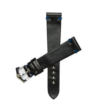 Milano Straps Leather strap Black Blu Cordovan Leather Watch Strap