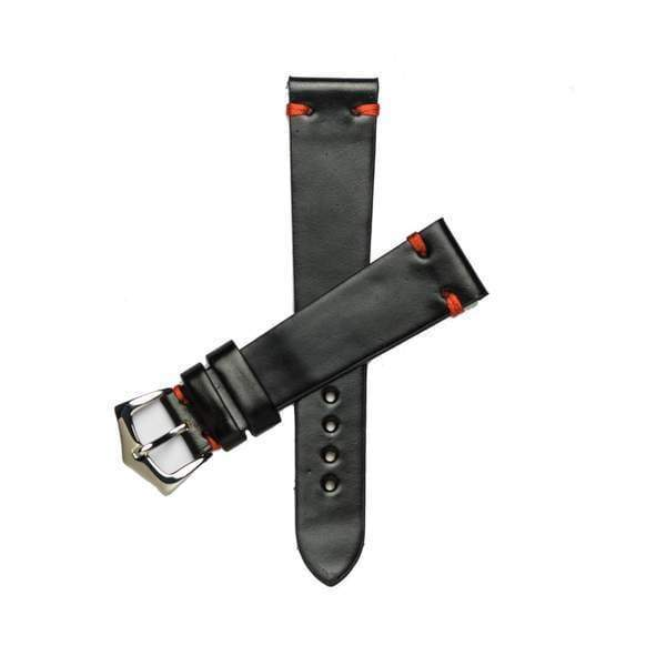 Milano Straps Leather strap Black Red Cordovan Leather Watch Strap