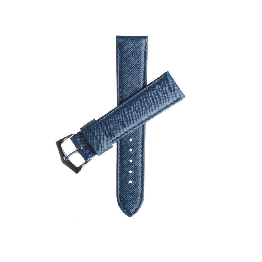 Milano Straps Leather strap Blu Saffiano Folded Edge Blu Stitches Watch Strap