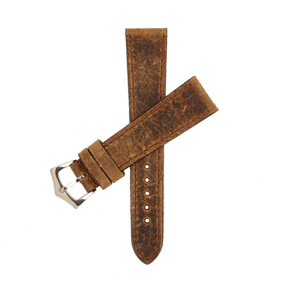 Brown Leather Vintage Brown Stitches Watch Strap