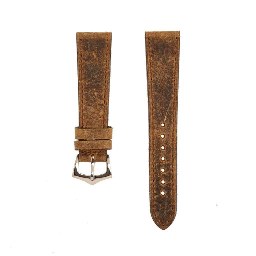 Milano Straps Leather strap Brown Leather Vintage Brown Stitches Watch Strap