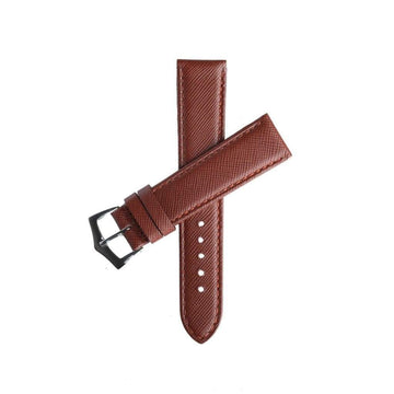 Milano Straps Leather strap Brown Saffiano Folded Edge Brown Stitches Watch Strap