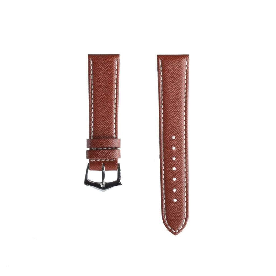 Milano Straps Leather strap Brown Saffiano Folded Edge White Stitches Watch Strap