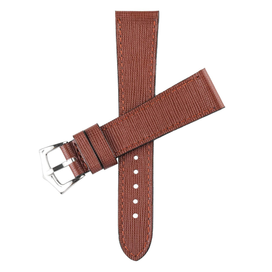 Milano Straps Leather strap Brown Saffiano  Leather Watch Strap