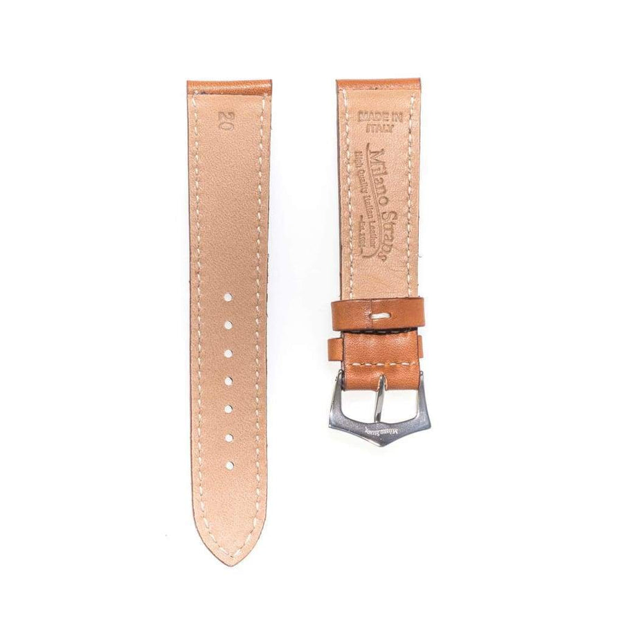 Milano Straps Leather strap Cognac Barenia Leather Flat Watch Strap
