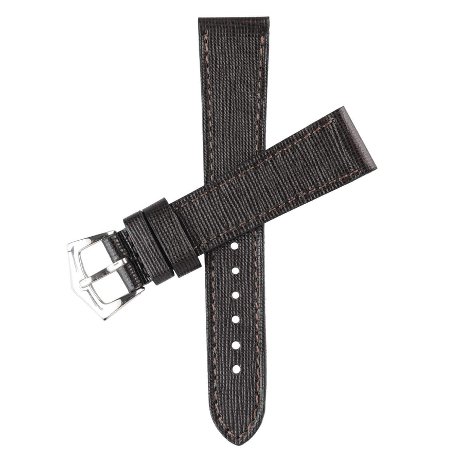 Milano Straps Leather strap Dark Brown Saffiano  Leather Watch Strap