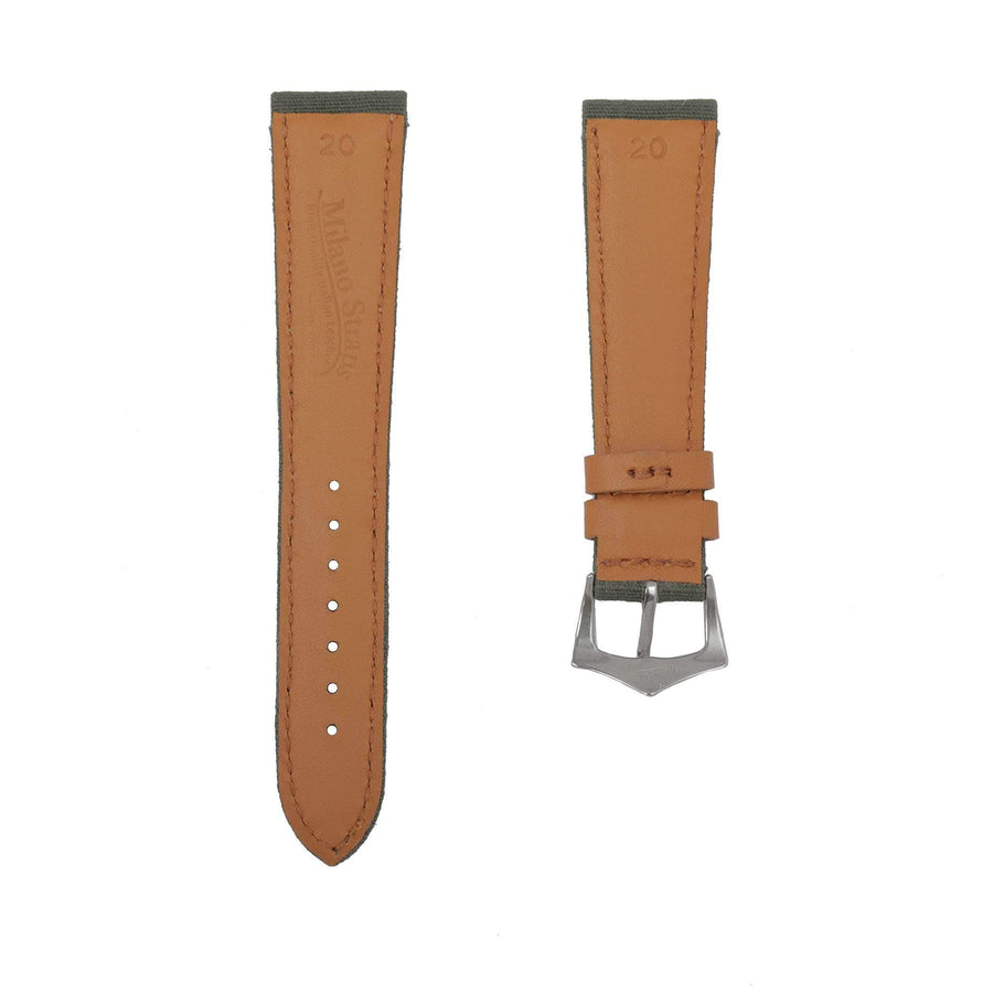 Milano Straps Leather strap Green Canvas & Brown Leather Watch Strap