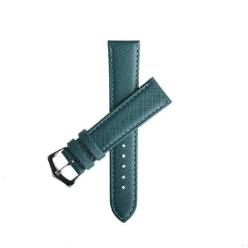 Milano Straps Leather strap Green Saffiano Folded Edge Green Stitches Watch Strap