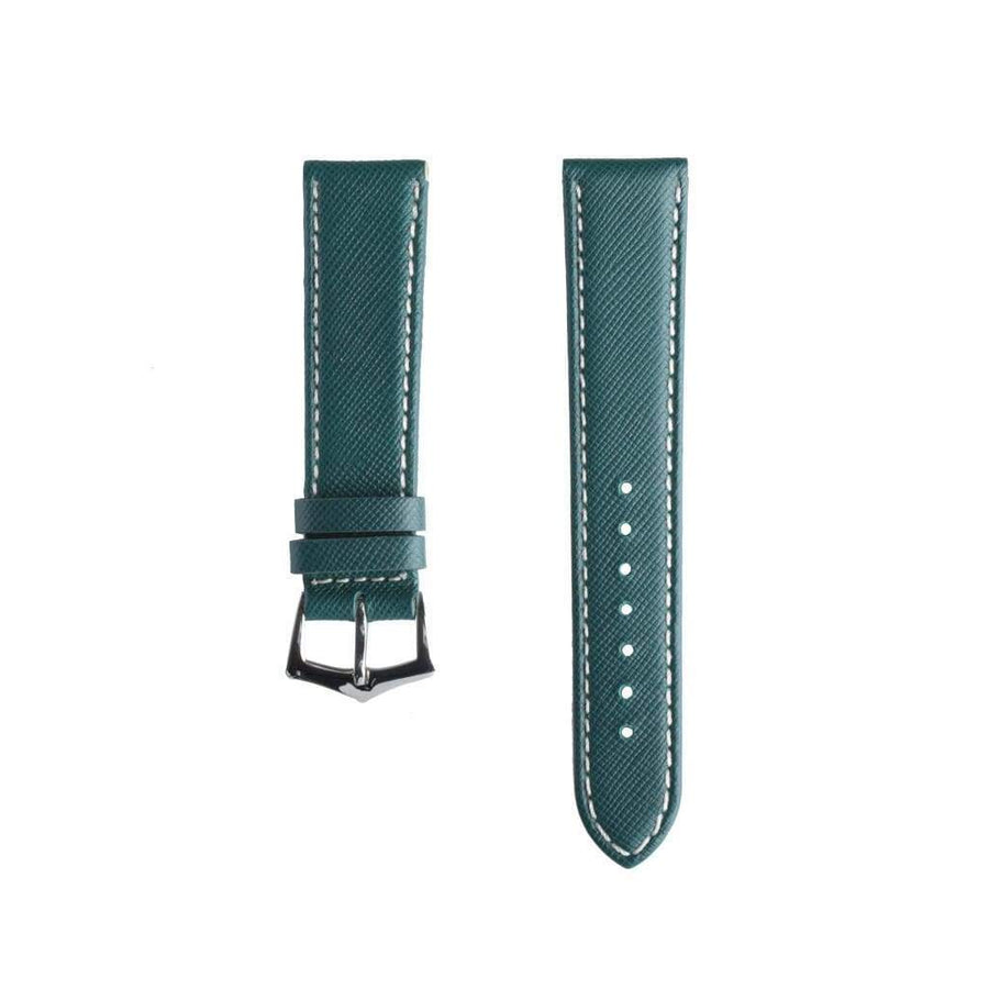 Milano Straps Leather strap Green Saffiano Folded Edge White Stitches Watch Strap