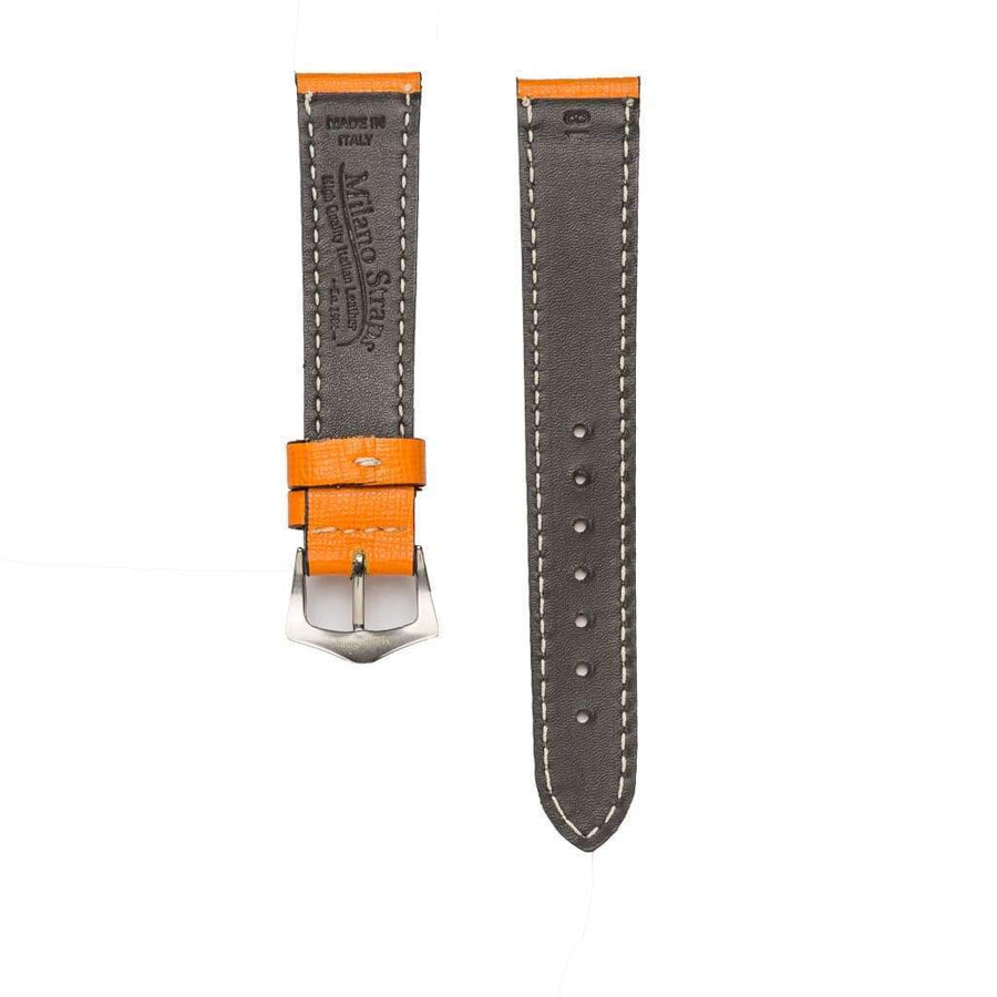 Milano Straps Leather strap Orange Saffiano Leather Watch Strap