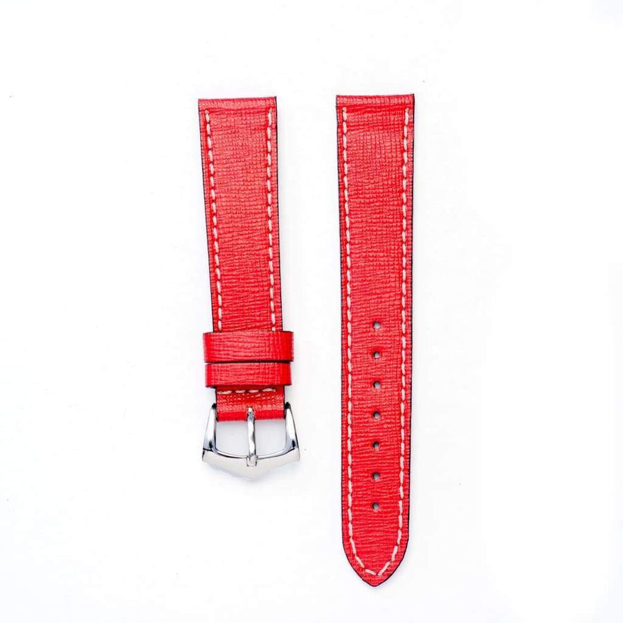 Milano Straps Leather strap Red Saffiano leather Watch Strap