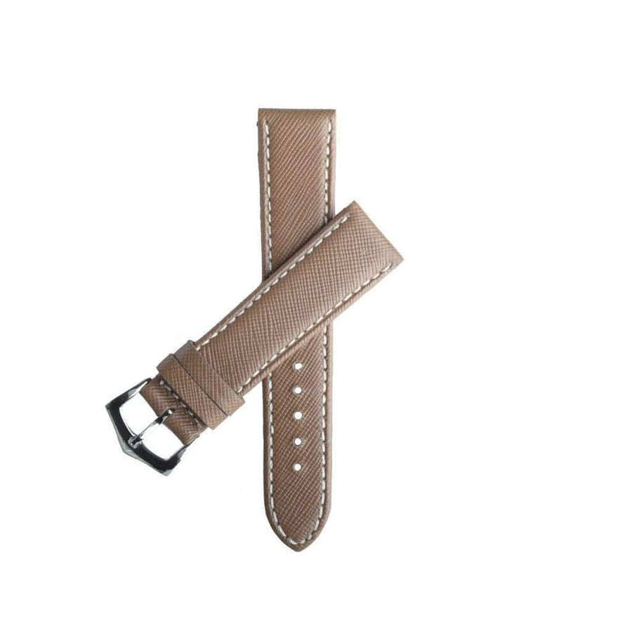 Milano Straps Leather strap Toupe Saffiano Folded Edge White Stitches Watch Strap