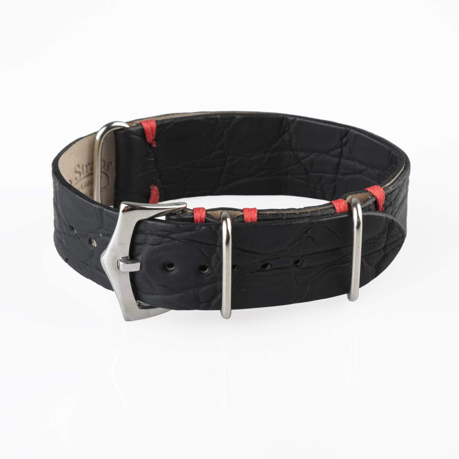 Milano Straps NATO Strap 20mm Black NATO Watch Strap Black Crocodile
