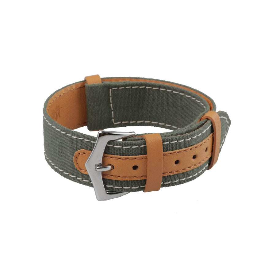 Milano Straps NATO Strap Green Canvas & Brown Leather NATO Watch Strap
