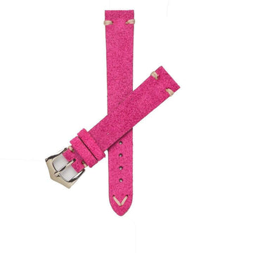 Milano Straps Suede strap 16mm / Stainless Steel Polish Fuchsia Suede Vintage Leather Watch Strap