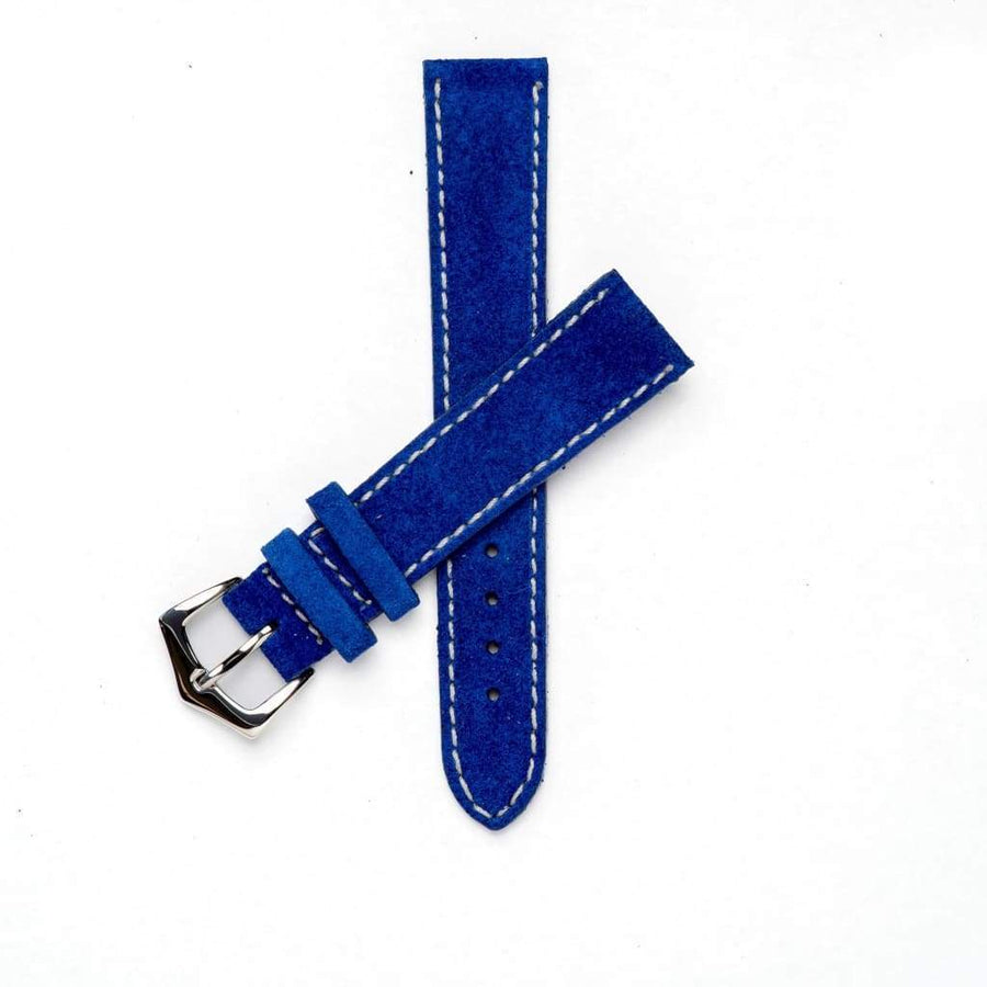 Milano Straps Suede strap 18mm / Stainless Steel Polish Blu Suede Watch Strap Stitches