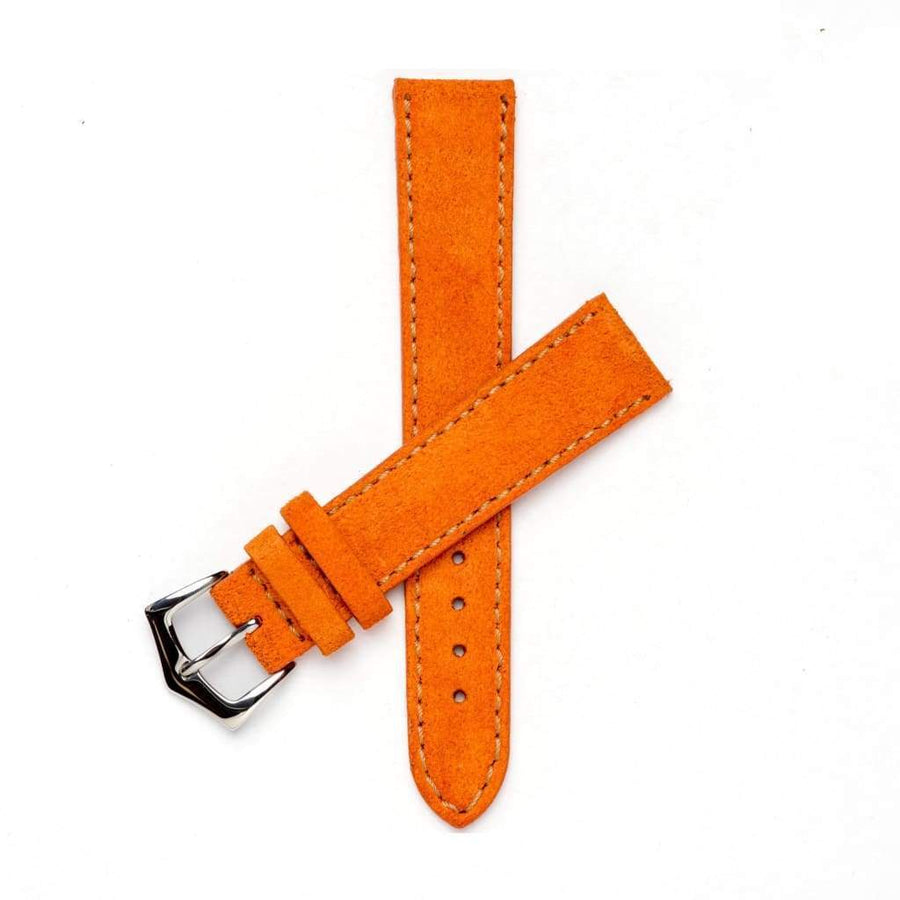 Milano Straps Suede strap 18mm / Stainless Steel Polish Orange Suede Watch Strap Stitches