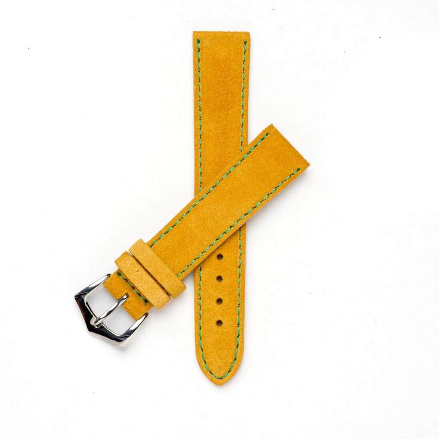 Milano Straps Suede strap 18mm / Stainless Steel Polish Yellow Suede watch strap green stitches