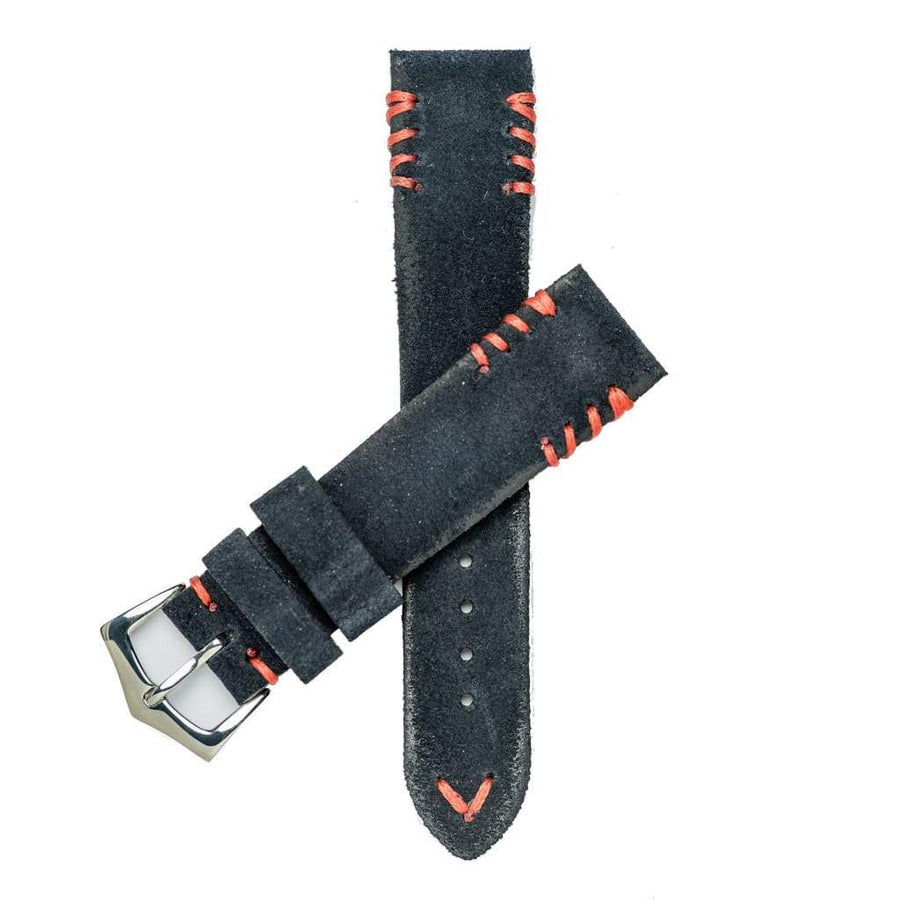 Milano Straps Suede strap 20mm / Stainless Steel Polish Blu Suede Watch Strap Red Tribal Stitches