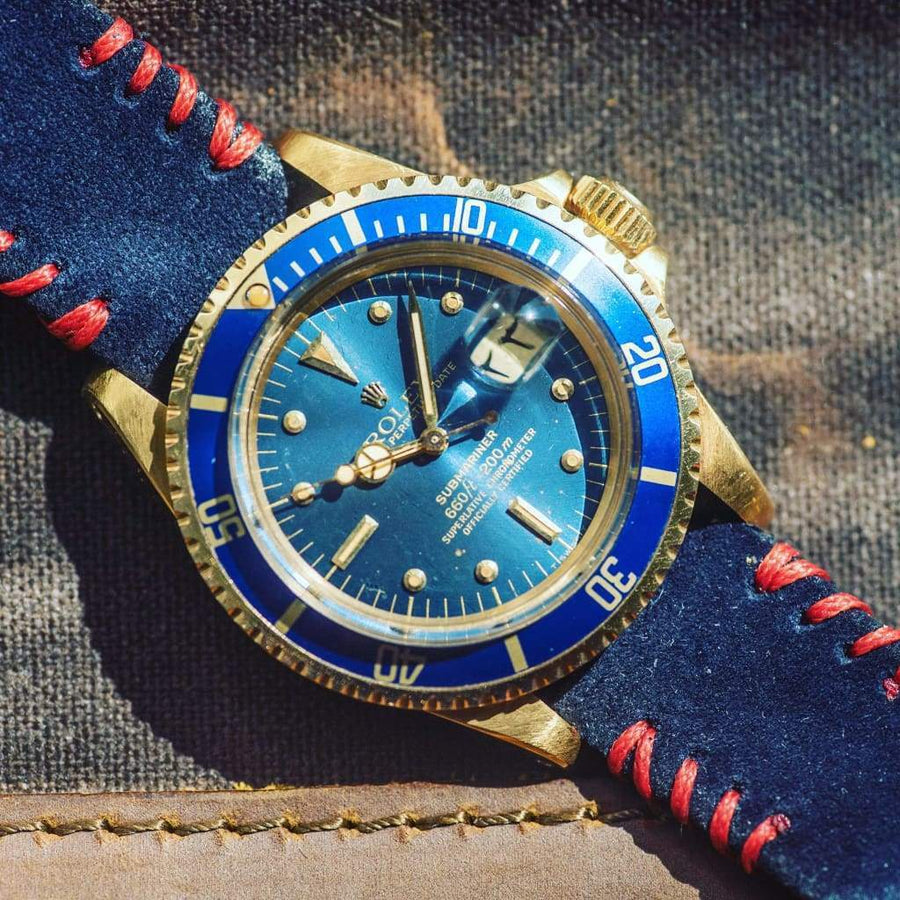 Milano Straps Suede strap Blu Suede Watch Strap Red Tribal Stitches
