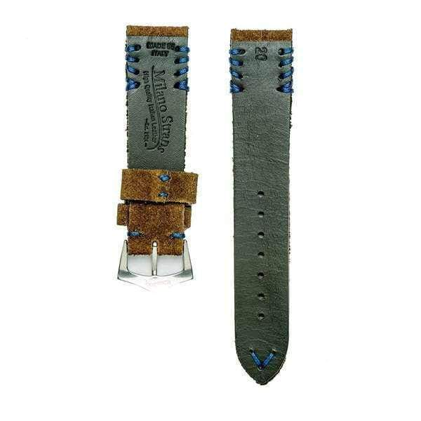 Milano Straps Suede strap Brown Suede Vintage Watch Strap Blu Tribal Stitches