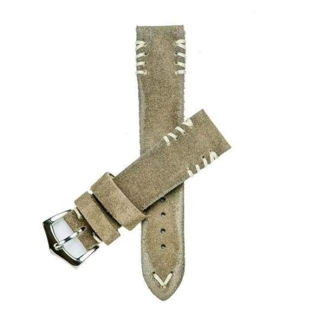 Milano Straps Suede strap Camel Suede Watch Strap Tribal White stitches
