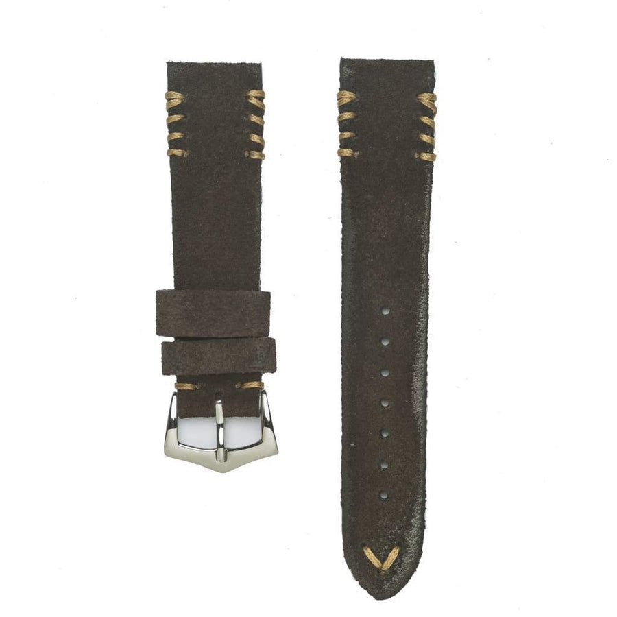 Milano Straps Suede strap Dark Brown Suede Vintage Tribal Stitches