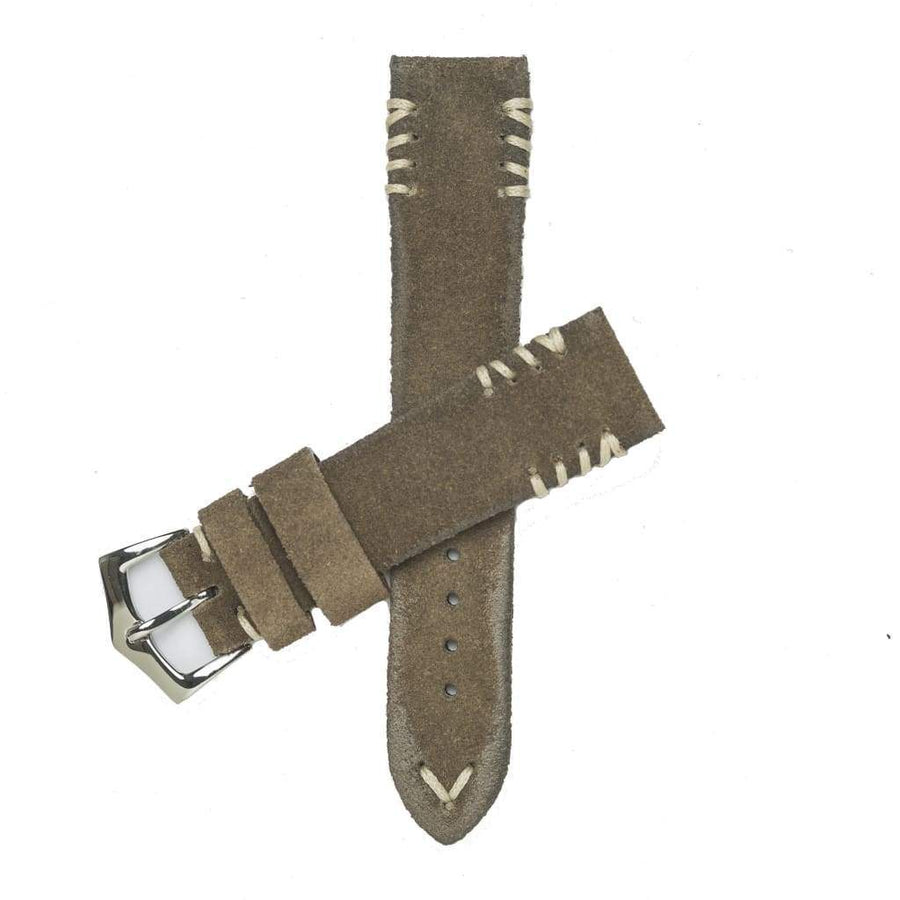 Milano Straps Suede strap Grey Vintage Suede Tribal Stitches Watch Strap