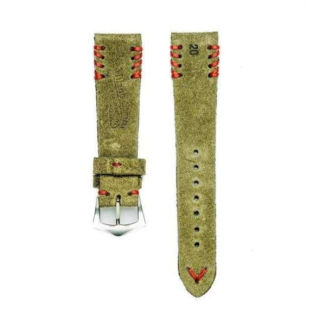 Milano Straps Suede strap Military Green Suede Vintage Watch Strap Tribal Red Stitches