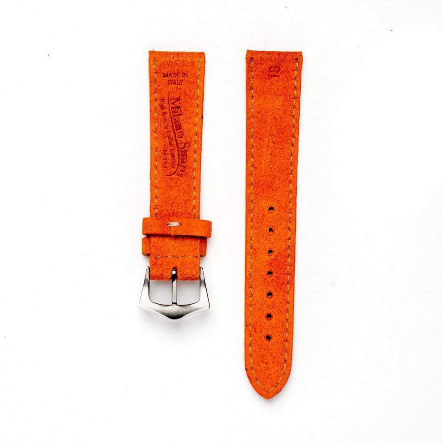Milano Straps Suede strap Orange Suede Watch Strap Stitches
