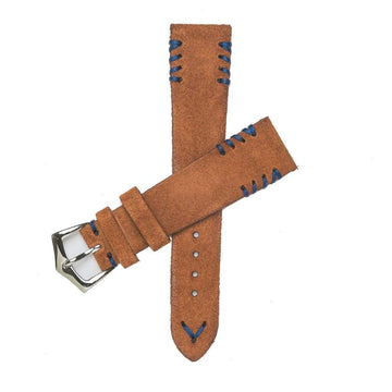 Milano Straps Suede strap Rust Suede Watch Strap Tribal Blu stitches