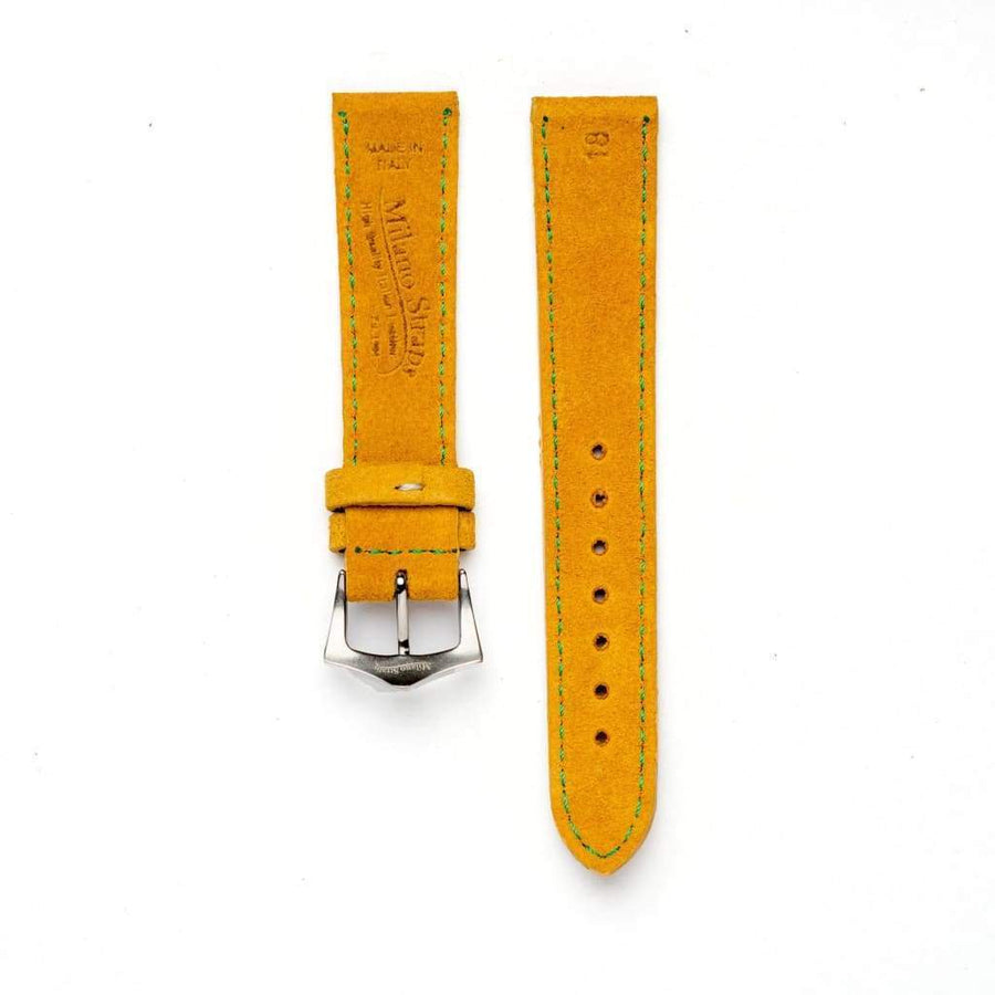 Milano Straps Suede strap Yellow Suede watch strap green stitches