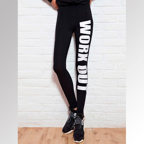 Leggings Estampado de Letras Negras
