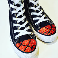 Wome's black high top basketball blinged Converse shoes