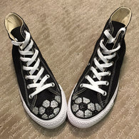 Women's Soccer Shoes. Blinged black high top converse shoes