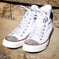 Wedding Converse shoes. White high top Converse shoes blinged with clear rhinestones