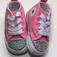 Pink baby crib Converse shoes with clear rhinestone bling on the toes