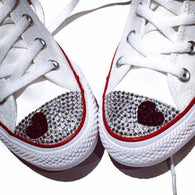 White Converse shoes blinged with clear rhinestones and a black heart on toes
