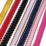 "Flat Grosgrain Ribbon Shoelaces. 3/8"" Laces. White Dotted Trim"
