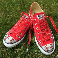 Women's red low top Converse baseball shoes blinged with clear and red rhinestones