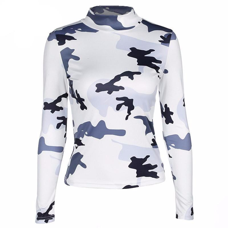Camo High Neck Top