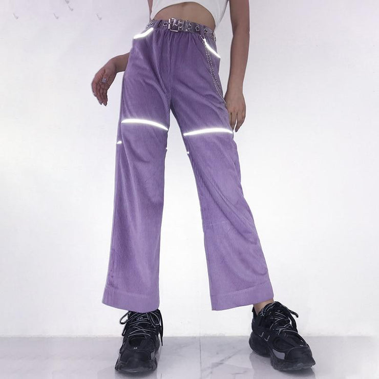 Codruroy Lavender Pants with Reflective Stripes