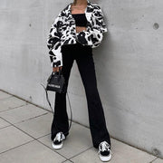 Cropped Cow Print Jacket