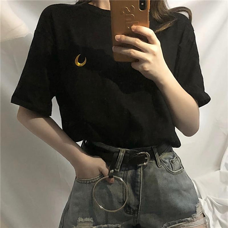 Embroided Moon Tee