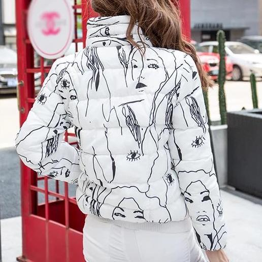 Face Sketch Puffer Jacket
